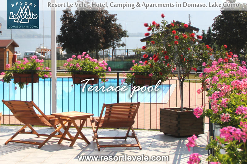 terrace pool camping domaso lake como lake